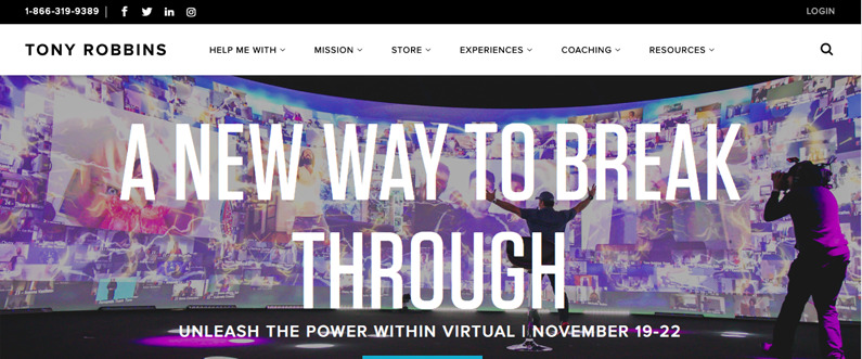 Tony Robbins Website - Find Coaching Clients